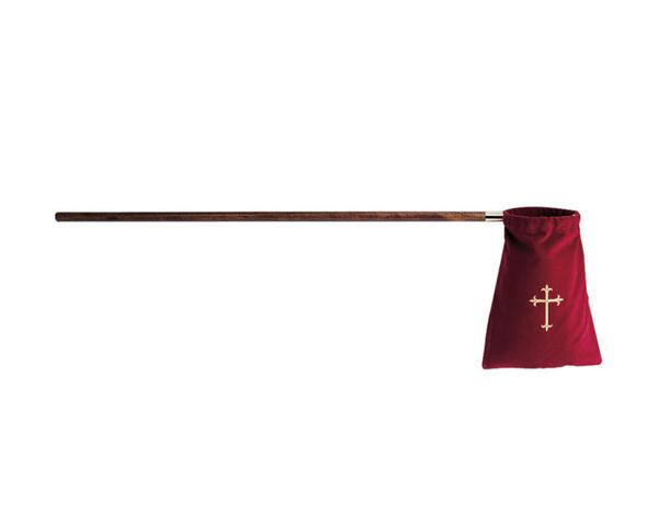Church Supplies : Church Offering Bag w/Long Wooden Handle Offering Bags