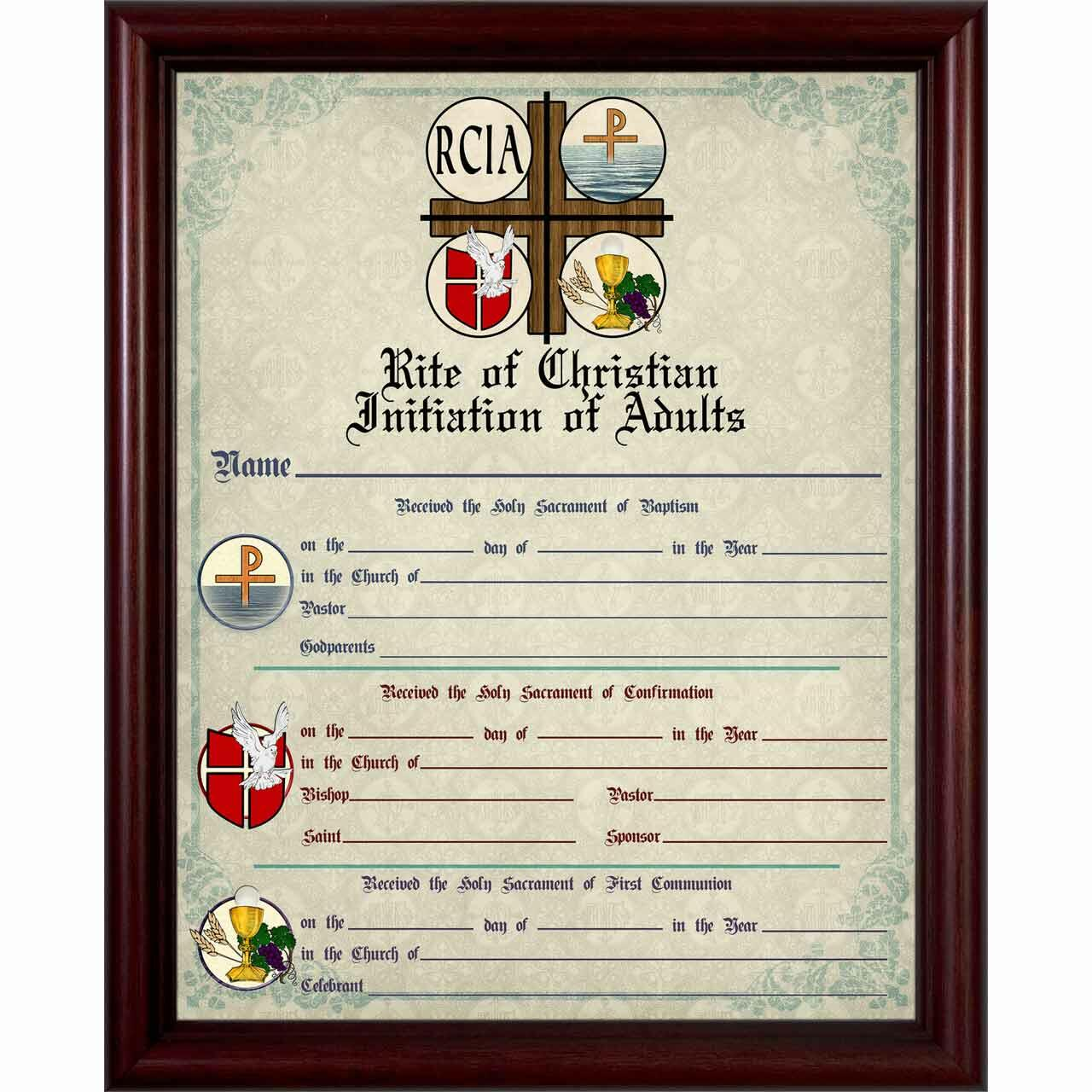 Home Accents Decor House Blessings RCIA Sacrament Certificate Of Initiation In Cherry Frame