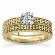 0.33 Carat Engraved Engagement Ring Set in 14K Yellow Gold