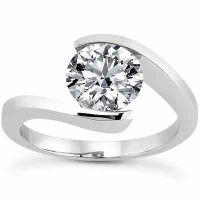 Tension Set White Topaz Engagement Ring
