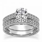 0.75 Carat Engraved Heart Engagement Ring Set in 14K White Gold