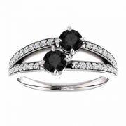 0.50 Carat 'Only Us' Black Diamond Engagement Ring in 14K White Gold