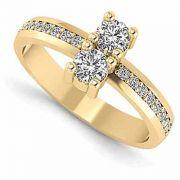 0.50 Carat Two Stone Diamond Ring in 14K Yellow Gold