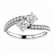 White Topaz and Diamond 'Only Us' Engagement Ring in 14K White Gold