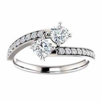 White Topaz and CZ 'Only Us' Engagement Ring in Sterling Silver