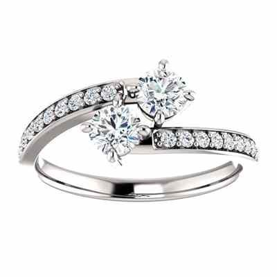 White Topaz and CZ  Only Us  Engagement Ring in Sterling Silver -  - STLRG-122933RWTCZSS