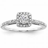0.53 Carat Carat Square Halo Diamond Engagement Ring