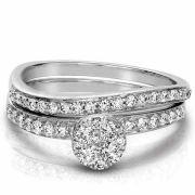 0.61 Carat Modern Wave Diamond Bridal Ring Wedding Set 14K White Gold