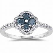 0.62 Carat Blue and White Diamond Flower Ring
