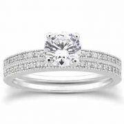 0.70 Carat Antique Style Diamond Engagement Ring Set