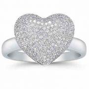 0.75 Carat Diamond Pave Heart Ring