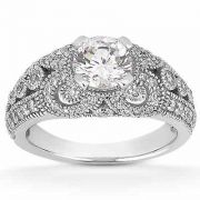 Vintage Style White Topaz and Diamond Engagement Ring