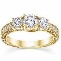 0.94 Carat Three-Stone Floral-Carved Diamond Engagement Ring, Gold