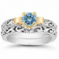 1 Carat Art Deco Blue Topaz Bridal Ring Set