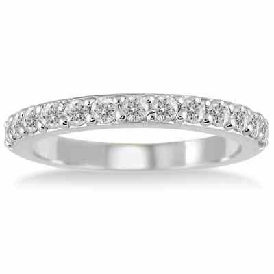 1/2 Carat Diamond Wedding Band Ring in 10K White Gold -  - RGF12360