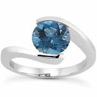 1 Carat Tension Set Blue Diamond Engagement Ring