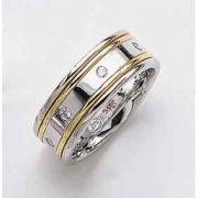 1/4 Carat Diamond Wedding Band Ring - 14K Two-Tone Gold