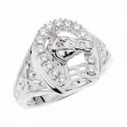 1/4 Carat Men's Diamond Horseshoe Ring with Horse in White Gold