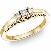 1/4 Carat Three-Stone Princess-Cut/Round Diamond Ring, 14K Yellow Gold