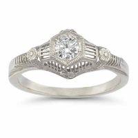 Platinum 1/4 Carat Vintage Floral Diamond Engagement Ring