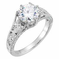 1.50 Carat Moissanite and Diamond Swirl Pattern Engagement Ring