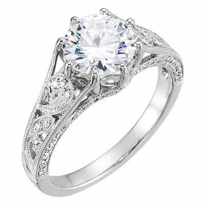 CZ & Diamond Paisley Band Swirl Engagement Ring -  - STLRG-651581CZD