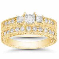1 1/3 Carat Antique-Style 3 Stone Wedding/Engagement Ring Set, Gold