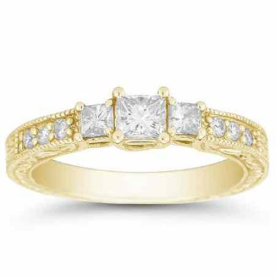 1 Carat Antique 3 Stone Princess Cut Diamond Engagement Ring, Gold -  - QDR-4Y
