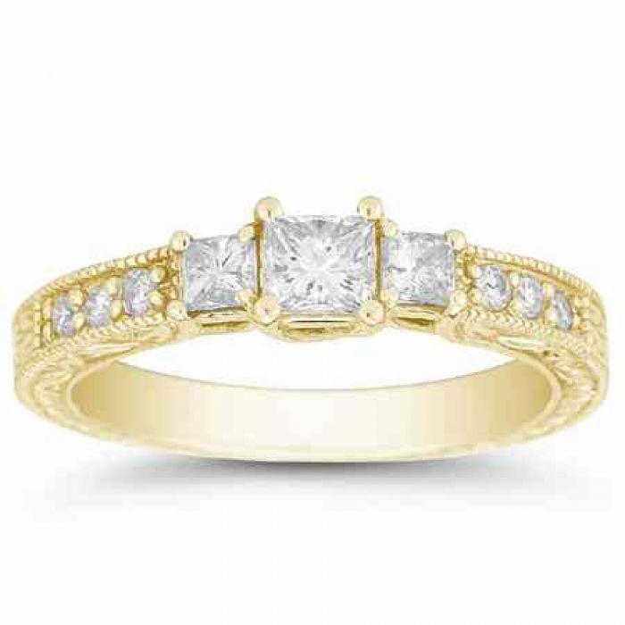 Wedding Rings 1 Carat Antique 3 Stone Princess Cut Diamond