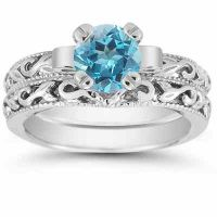 Blue Topaz 1 Carat Art Deco Bridal Ring Set in Sterling Silver