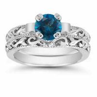 London Blue Topaz 1 Carat Bridal Ring Set in Sterling Silver
