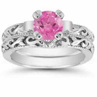 Pink Topaz 1 Carat Bridal Ring Set in Sterling Silver