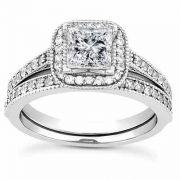 1 1/2 Carat Princess-Cut Halo Engagement and Wedding Ring Set