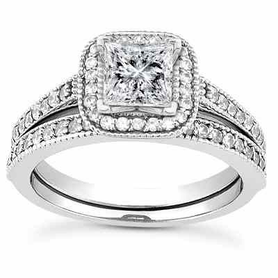 1 2 Carat Princess Cut Halo Engagement And Wedding Ring Set