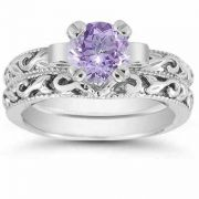 Tanzanite 1 Carat Bridal Ring Set in Sterling Silver