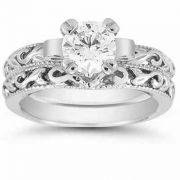 Sterling Silver CZ Art Deco Bridal Ring Set