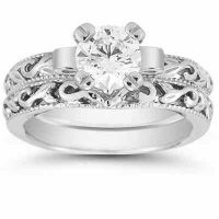1 Carat White Topaz Art Deco Bridal Ring Set, 14K White Gold