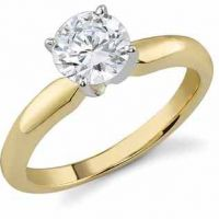 1 Carat White Topaz Solitaire Ring, 14K Yellow Gold