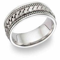 14 Karat White Gold Braided Wedding Band Ring