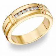 14K Gold Men's 0.45 Carat Diamond Wedding Band
