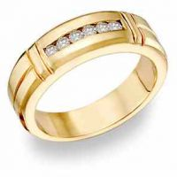14K Gold Men's 0.45 Carat Diamond Wedding Band
