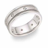 14K White Gold 1/4 Carat Diamond Wedding Band Ring