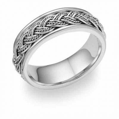 Platinum Hand-Braided Wedding Band Ring -  - PL-WRB4008