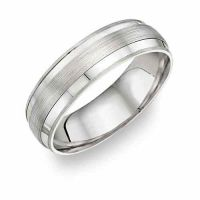 Platinum Wedding Band Ring with Brushed Center Design