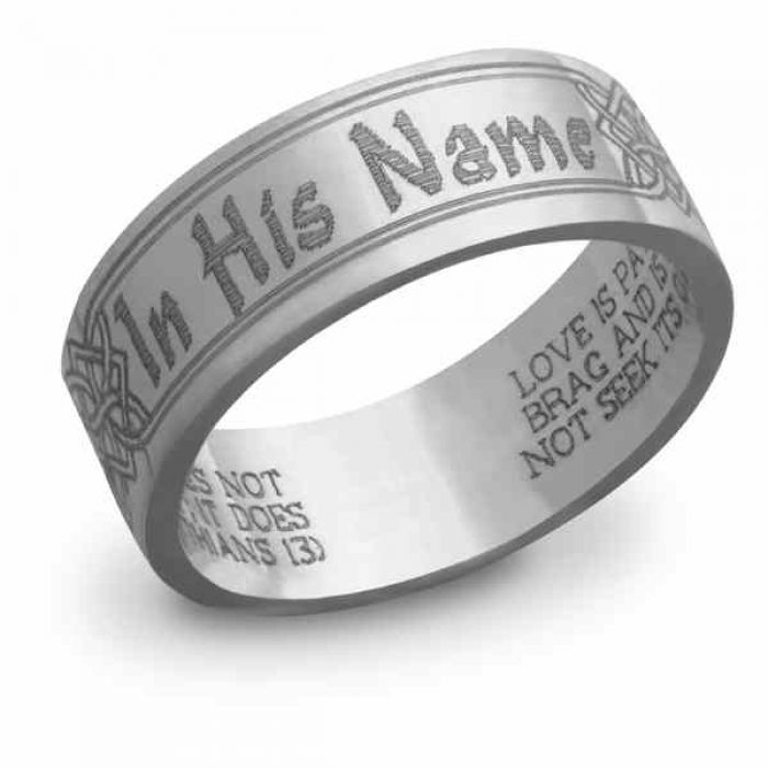 Wedding Ring Bible Quotes: Wedding Rings : In His Name Bible Verse Wedding Band In