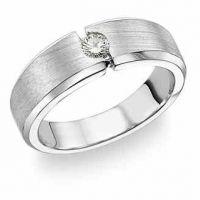 14K White Gold Men's Diamond Band Ring (0.18 Carats)