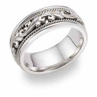 Platinum Paisley Design Wedding Band