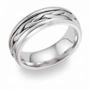 Platinum Wide Braided Wedding Band Ring