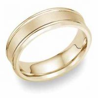 14K Yellow Gold Wedding Band with Brushed Center