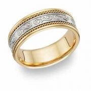 Paisley Wedding Band Ring - 14K Two-Tone Gold
